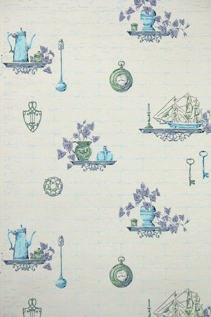 39 best images about kitchen vintage wallpaper on pinterest for Purple kitchen wallpaper
