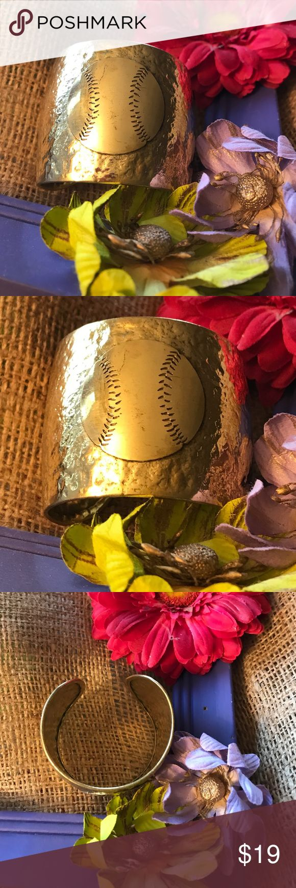 Gold Baseball Cuff Cute and just in time for opening day...... let's play ball ⚾️ ! Jewelry Bracelets