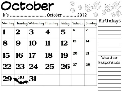 Enjoy Teaching English: CALENDARS 2012-2013 (October, November, December)