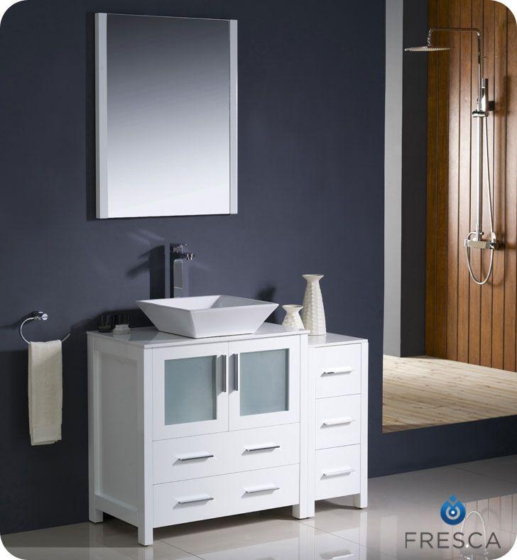 The Art Gallery Fresca White Vessel Sink Bath Vanity Side Cabinet Mirror u Faucet