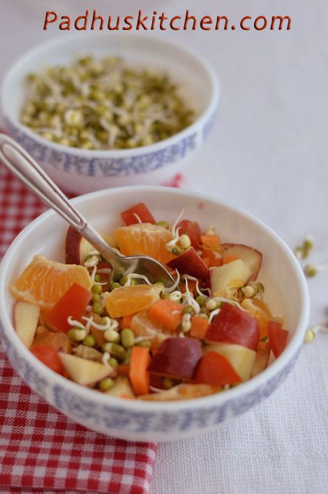 Sprouts combined with fruits increases their nutritional value. Mung sprouts with fruits