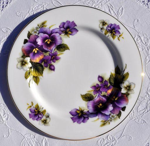 Purple Dinnerware Vintage Style Sheltonian Bone China