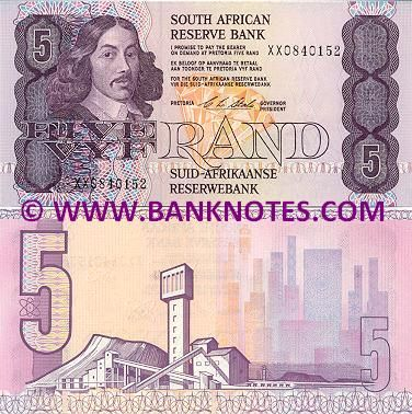 "South Africa 5 Rand (1978-1994)  Obverse: Portrait of Johan Anthoniszoon ""Jan"" van Riebeeck (21 April 1619 – 18 January 1677); Diamond. Reverse: Industrial processing, mining plant; City skyscraper skyline. Signature: Dr. Christian Lodewyk Stals (Governor President, in office from 8th August 1989 to 7th August 1999). Watermark: Effigy of Jan van Riebeeck."
