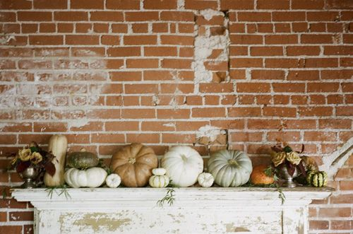 mismatched fall harvest on a mantle
