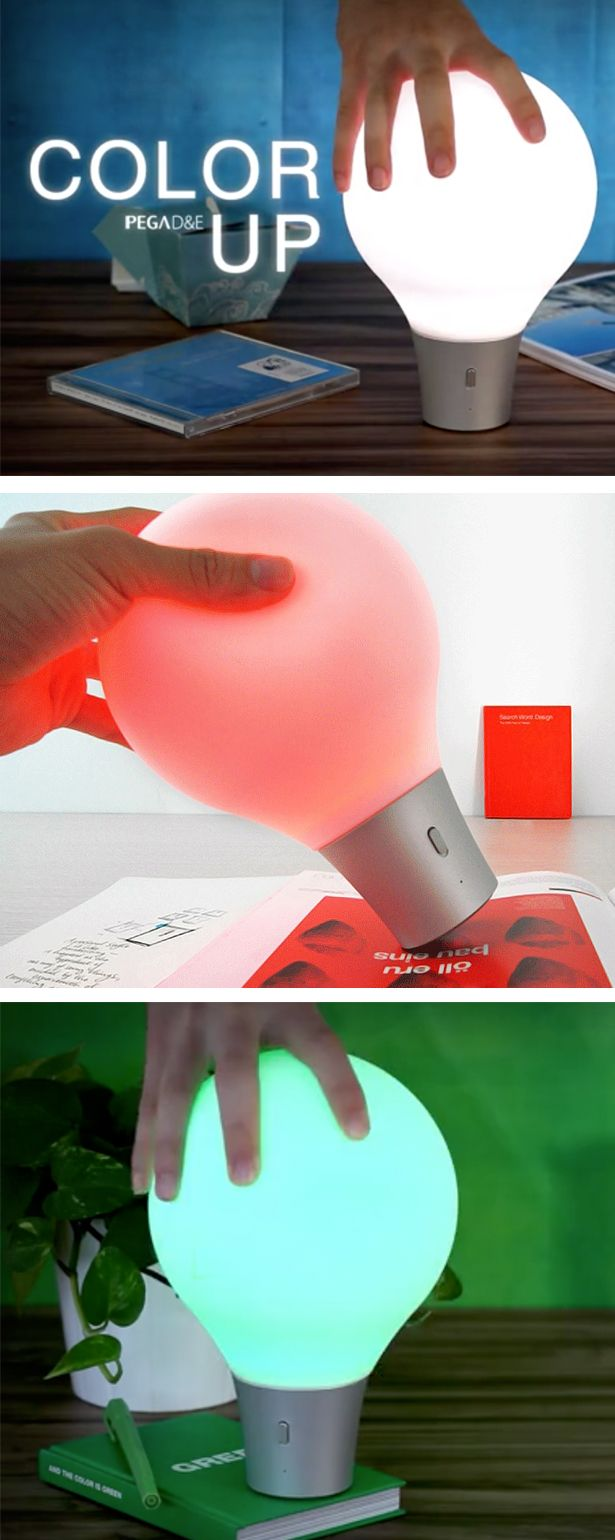 Squeezable lamp that changes color to whatever surface it's on