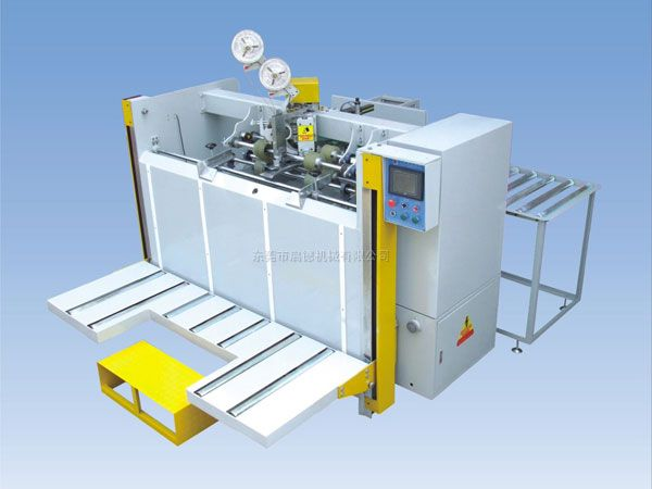 box stitching machine,two piece joint stitcher,Semi Auto Stitcher,cardboard stitching machine, 1. Adopt Import Double Servo Control System 2. Applied single, double and irregular corrugated carton stitching 3. Available for single, double and strengthen nail 4. Suitable for 3,5,and 7-Layer carton boxes 5. Operating sizes are adjusted by computer, running errors showed on the screen 6. Automatic counter ejector and bundle sheaves of cartons to make working efficiently