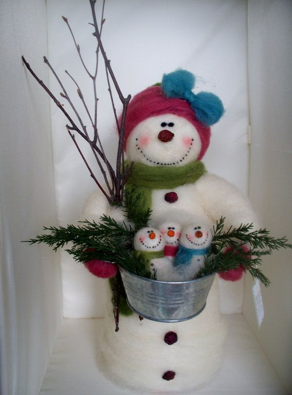 Ethel+Snow+and+Her+Babies+Felted+Wool+Snowman+by+WhimsicalWoolies,+$79.00