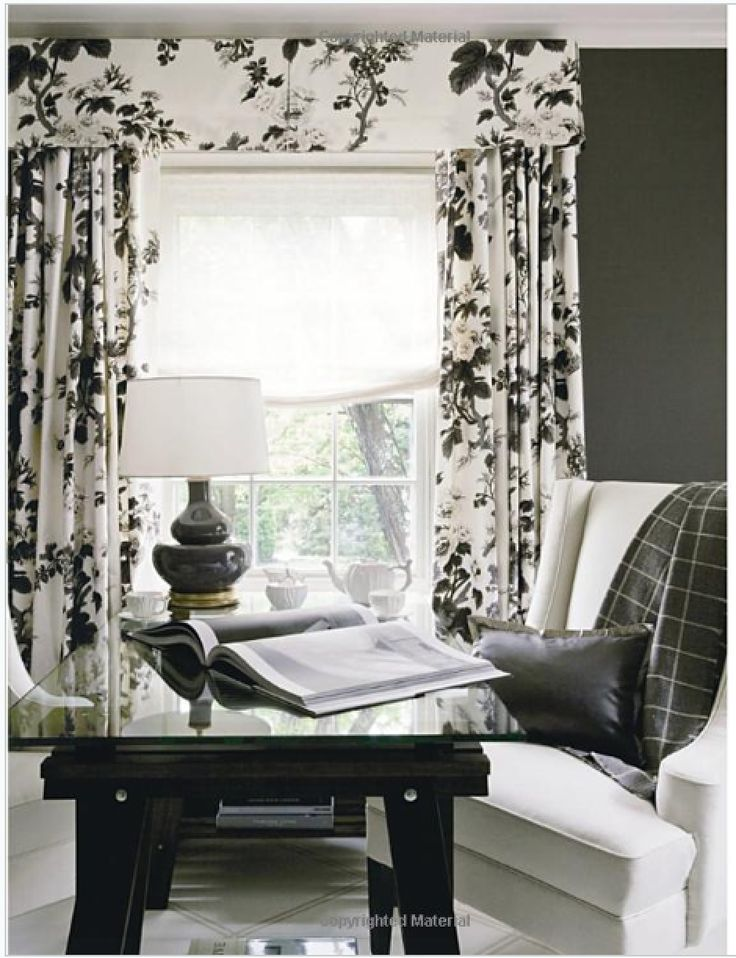 REpin from #TheCurtainExchange - Black & white floral valance + curtains #window #valances