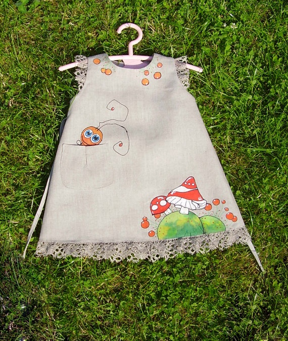 """Mushroom - painted dress - unit work - size  by height 32""""/82 cm for 7-8 years - children summer clothing."""