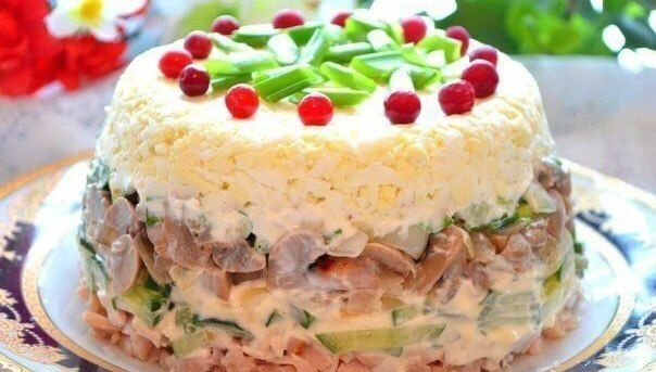 Chicken salad with eggs and mushrooms