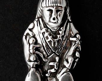 Navajo narrador plata Vintage Pin Vintage Pin, Pin a mano, joyería indio americano, nativo americano Pin, indio perno, perno de la broche de plata,