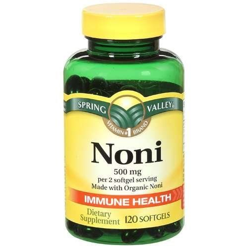 Natural Noni Vitamins Immune Health by Spring Valley,(500 mg), 120 softgels by Spring Valley. $13.91. Spring Valley Noni is made with organic Noni and other organic materials. It is produced from fully sun-ripened Noni fruits grown without the use of chemicals.All the benefits of Noni fruit and fruit juice without the unpleasant taste. Polynesian Islanders have been using Noni for over 2000 years as folk remedy and traditional food for its many health benefits.