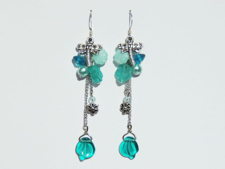 Green Dragonfly Dangle Earrings - By Cath's Craft Creations