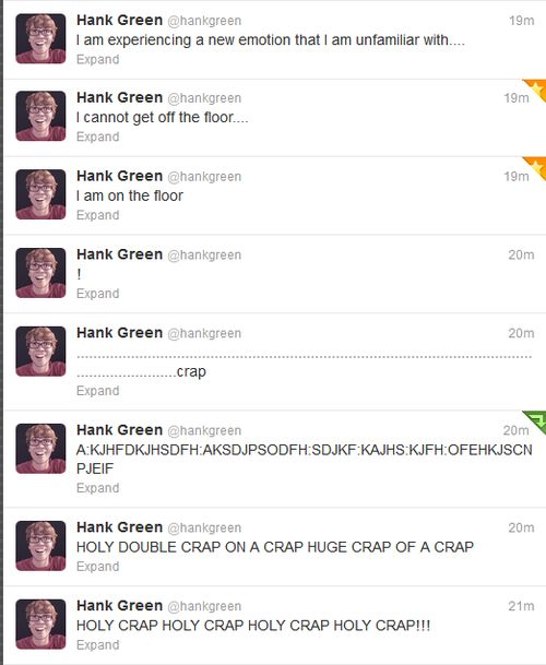Hank Green's tweets After President Obama told John Green's unborn child to not forget to be awesome.
