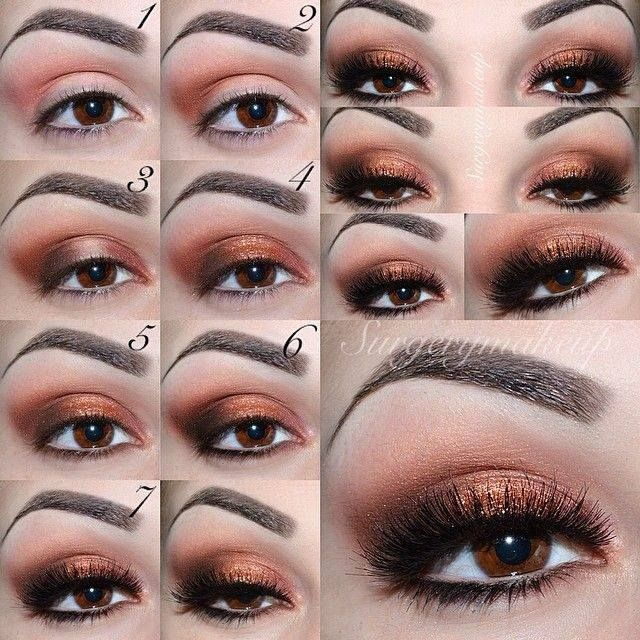 Copper brown eye makeup tutorial step by step   Eye makeup ... - photo#44