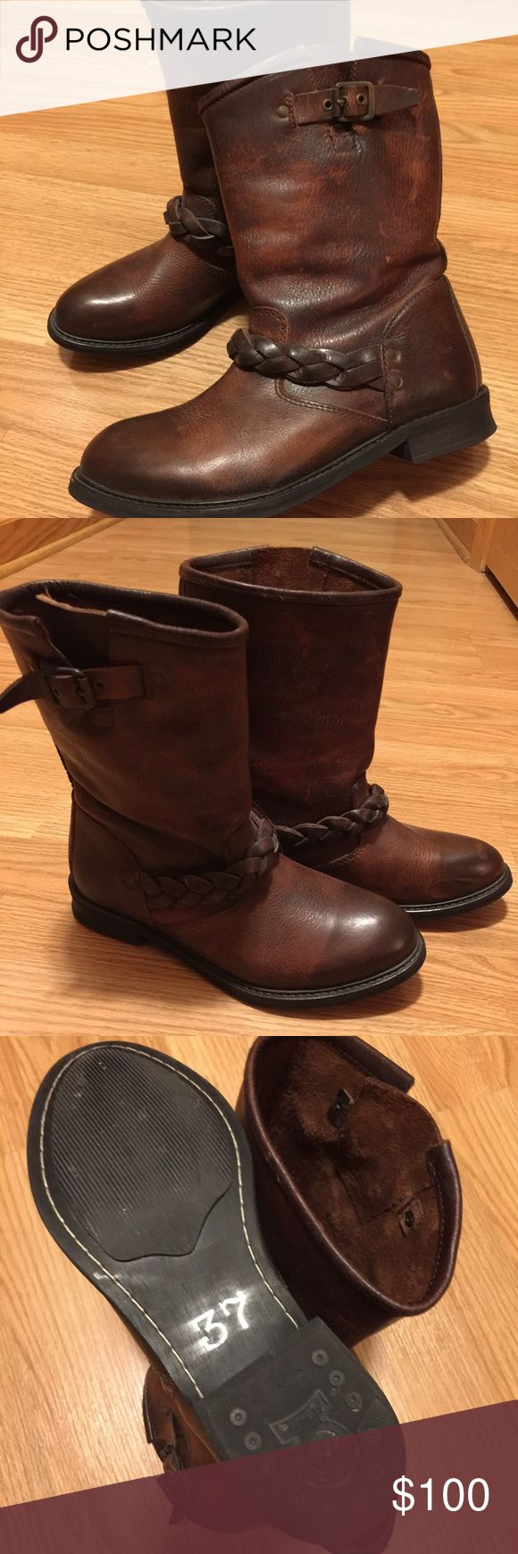 H by Hudson Albion Biker Boots | UK 37 US 6 Beautiful distressed brown leather boots. Great quality! Only worn a couple times. Purchased from U.K. Website JulesB. Fits like a US size 6 even though UK size 37. Runs small. 🚫 trades pls. H By Hudson Shoes Ankle Boots & Booties