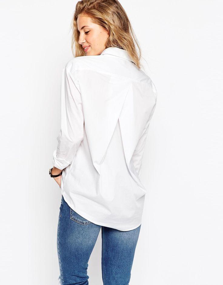 Image 1 ofASOS Slim Boyfriend White Shirt With Pleat Detail Back