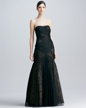 Strapless Lace & Tulle Gown by ML Monique Lhuillier at Neiman Marcus.
