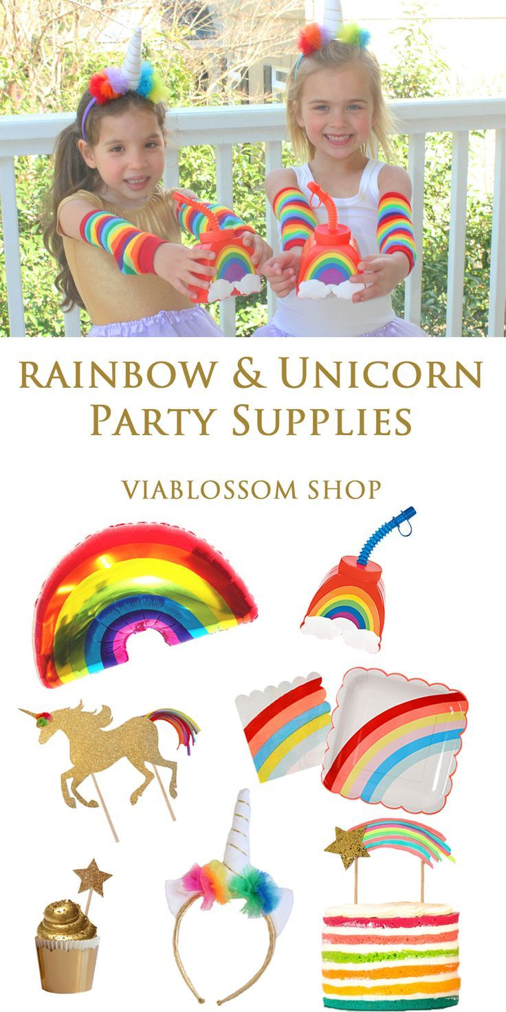 Bring the magic to your Party with our Rainbow and Unicorn Party Supplies!!!  Available at http://viablossom.com