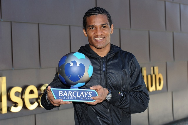 Chelsea's Florent Malouda with the Barclays Player of the Month Award for March 2010