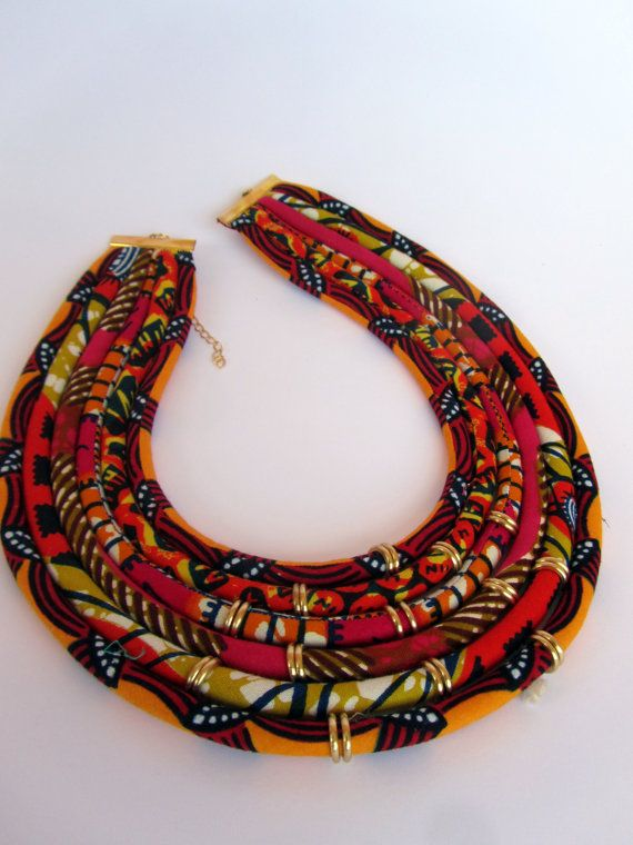 Colore arancione collana collana di tessuto africano di nad205