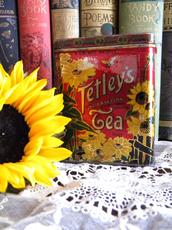 Vintage Tetley's Tea Tin Litho Container with Sunflowers and Bumble Bees Ceylon and India Tea Canister England by SongbirdSalvation on Etsy https://www.etsy.com/listing/530667015/vintage-tetleys-tea-tin-litho-container