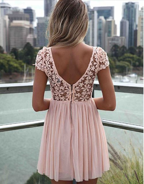 This sexy chiffon lace mini dress is beautiful and nice. With its transparent lace design and v-cut out at the back of the dress reveals your glamour. Zipper closure makes it comfortable and easy to w