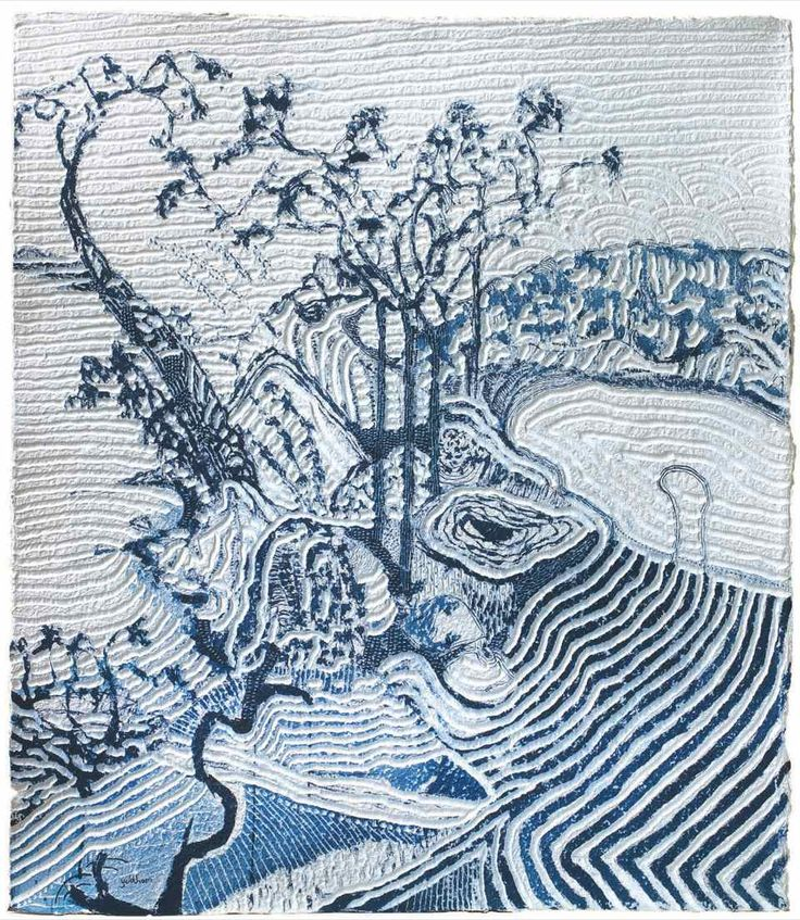 Blue Blessing - Yeoman's Bay, carved paper with shellac, 120 x 100 cm