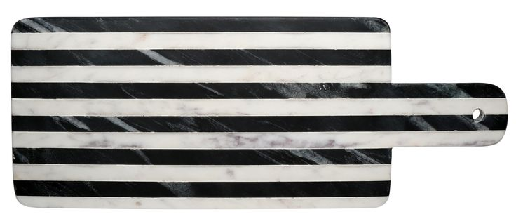 Geller Striped Marble Paddle Cheese Tray Black White