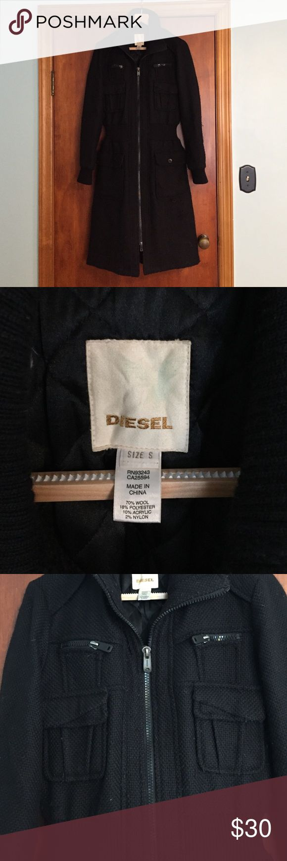 Women's Black Diesel Coat Very warm women's black Diesel coat. Zip front with lots of pockets. In good preowned condition with pilling over entire coat. I'm sure it could be cleaned. Diesel Jackets & Coats