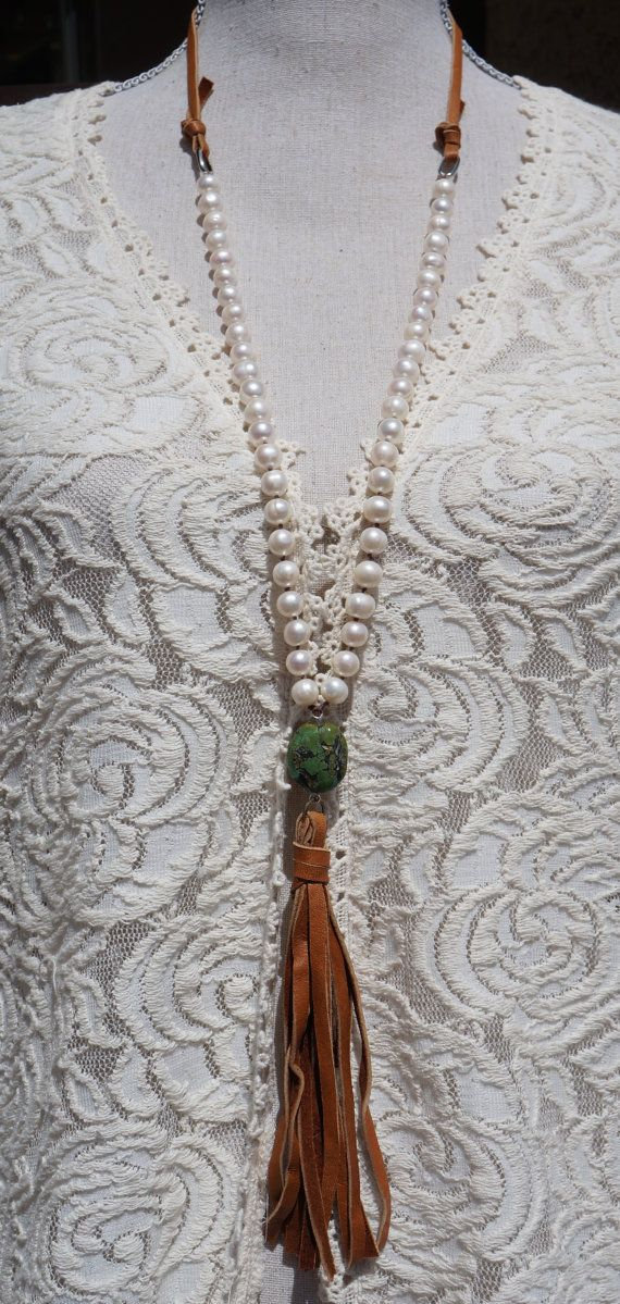 Tassel Necklace, Boho Western - Knotted Pearl and Suede Leather - Long Tassel…