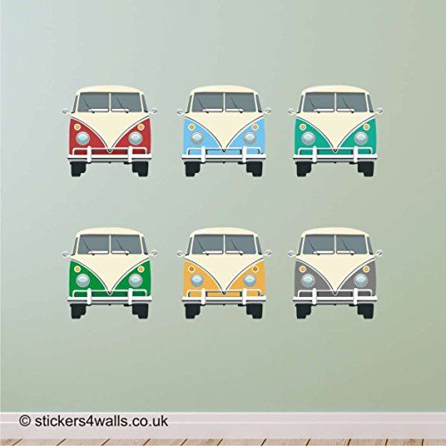 CAMPERVAN FRONT VIEW MULTICOLOURED WALL STICKERS: Removab…