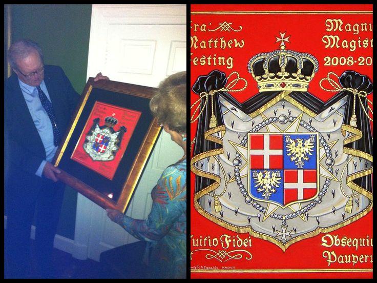 Fra' Matthew Festing holding Ioannis Vlazakis artwork