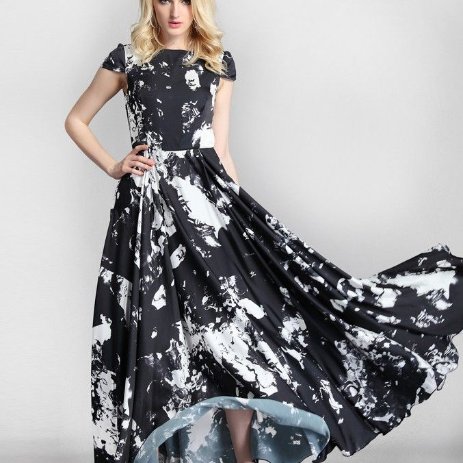 Newly High Quality Western Major Silk Dresses Black&White
