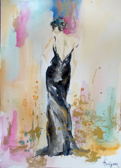 Black Dress- original figurative watercolor painting