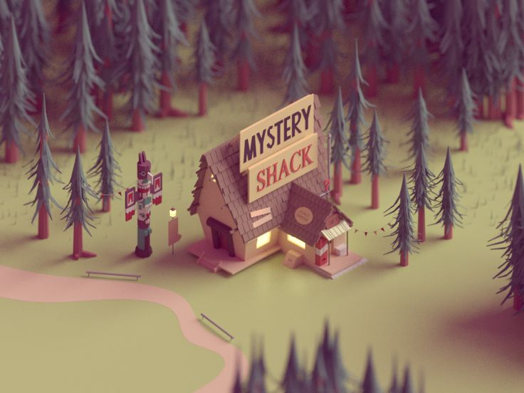 Gravity falls <3  A low poly fan art scene I made for the mystery shack in gravity falls.