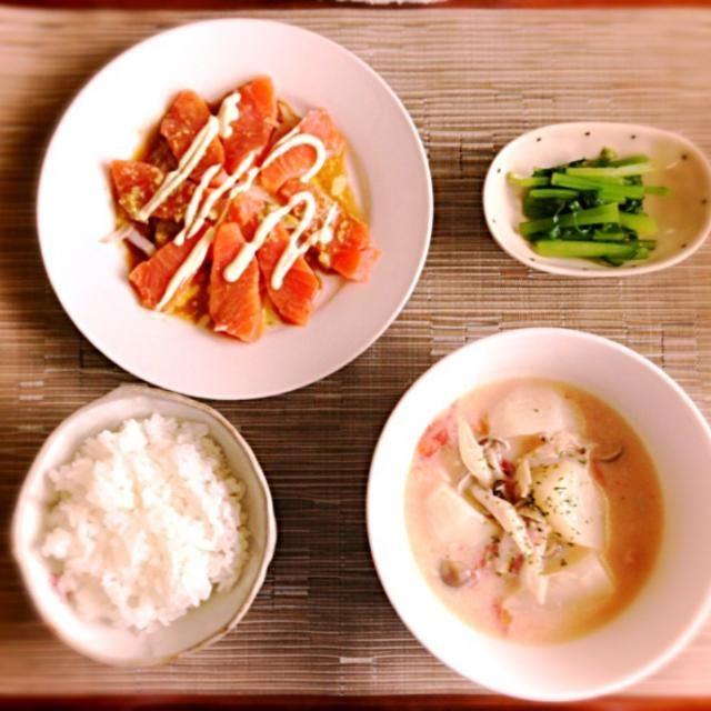 サーモンのカルパッチョ、カブの豆乳スープ、カブの葉のナムル('∀`) - 22件のもぐもぐ - 朝昼ごはん☆ by ayameshi