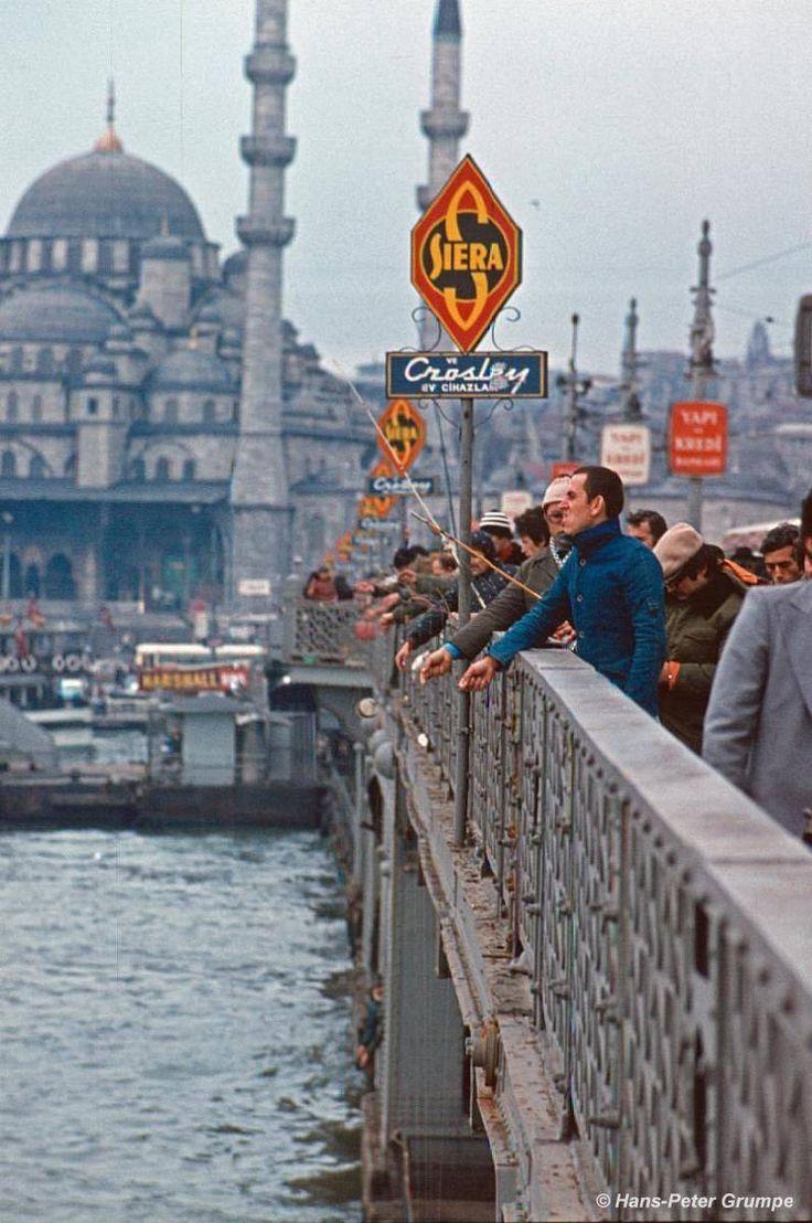 1978 istanbul. the old galata bridge. eski galata …