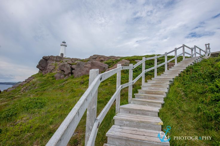 Winding wooden staircase at Cape Spear National Historic Site