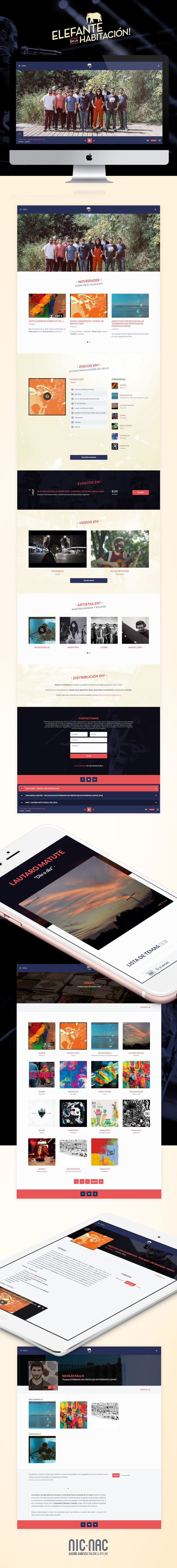 Diseño & desarrollo Web para el sello discográfico Elefante En La Habitación, grupo independiente y autogestivo de músicos promotores de la cultura radicados en Ciudad de Buenos Aires. http://nicnacdg.com/