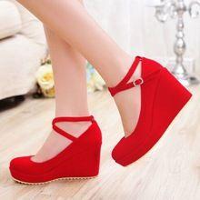 2016 primavera e verão novas mulheres alto-bomba de salto alto vermelho do casamento de noiva sapatos femininos Cunhas pretas casado casamento sexy sapatos de salto alto(China (Mainland))