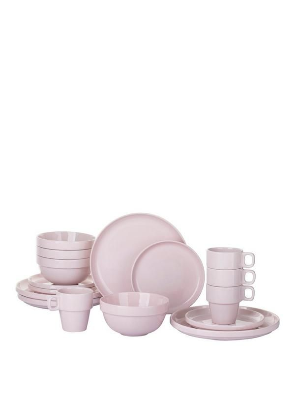 16-piece Stacking Dinner Set – Pink Bring a hint of contemporary style to your dining table with this 16-piece dinner set. Comprises 4 of each: - Dinner plates (26.5cm)- Side plates (20.5cm)- Deep bowls (14cm)- Mugs In a funky pink colour scheme, everything is designed to be stacked, each piece sitting perfectly inside the next to save space in smaller homes and give the whole set a unique look that's sure to impress. A choice of colours is also available separately to match your space…