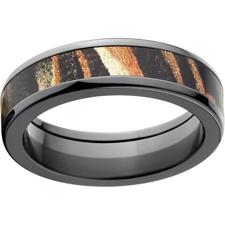 Mossy Oak Shadow Grass Men's Camo 6mm Black Zirconium Band with Polished Edges and Deluxe Comfort Fit, Size: 10