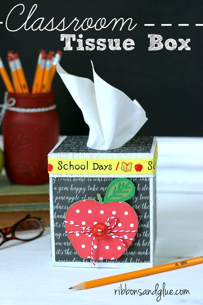 Classroom Tissue Box for the Teacher's Desk made with Silhouette and school themed scrapbooking paper. Creative gift idea for any teacher.