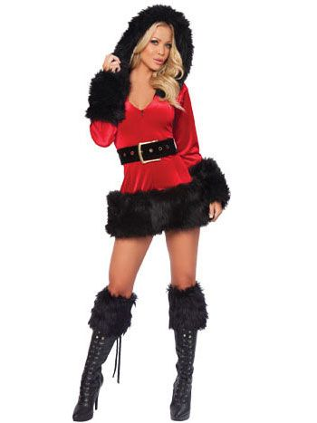 Fur Trim Hooded Santa Sexy Christmas Costume