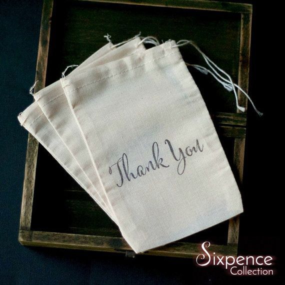 10 x Thank You Muslin Favour Bags. Diy thank you gift