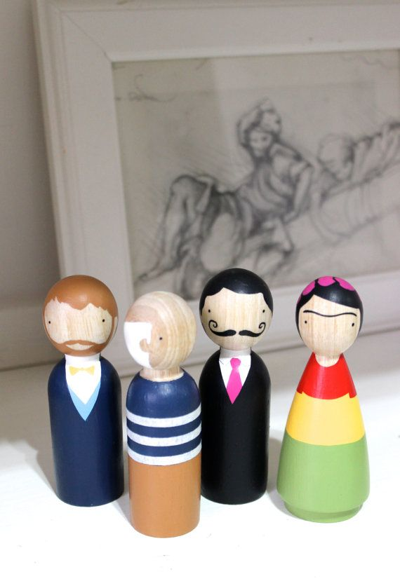 Wooden Peg Dolls // The Modern Masters // Famous Painters Peg Dolls // Frida Doll // Picasso Doll