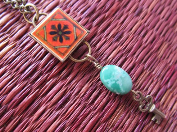 Aventurine and Key Mini Mexican Tile 'La Sofia' Necklace by FayWestDesigns, $21.00
