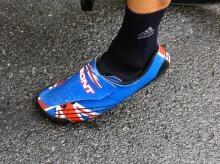 Bradley Wiggins (Team Sky) has a pair of custom British-themed Bont Zero shoes.