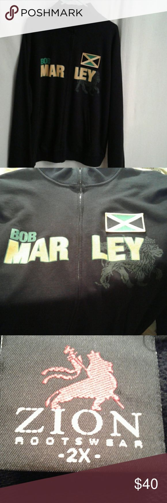 Zion Rootswear Bob Marley full zip sz XXL This is an authentic, full zip, 100% cotton, sweatshirt jacket in EUC. It is decorated with a patch of the Jamaican flag, a King of Judah symbol,  and Bob Marley in green and gold. It has 2 slash front pockets and a high necked collar. Zion Rootswear Jackets & Coats Lightweight & Shirt Jackets